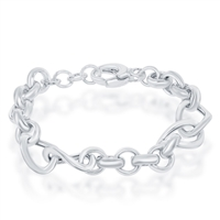 Sterling Silver Alternating Rolo & Twisted Oval Linked High Polished Bracelet