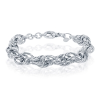 Sterling Silver Stripped Multi-Oval Linked Bracelet