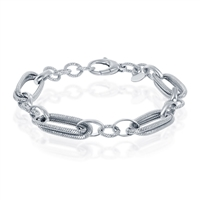 Sterling Silver Rope Design Oval and Round Linked Bracelet