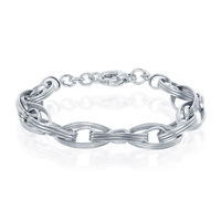 Sterling Silver Lined Marquise Shaped Multi-Linked Bracelet