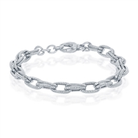Sterling Silver Rope Design Double Oval Linked Bracelet