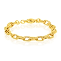 Sterling Silver W/14K Gold Overlay, Rope Design Double Oval Linked Bracelet