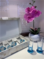 Gift Favors 2oz Tall Blue Shooter Glass - Box of 6
