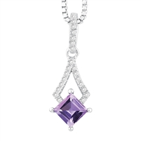 Bellissima Sterling Silver Square Amethyst Necklace