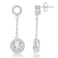 Sterling Silver Open CZ Circle with Round Dropdown CZ Earrings