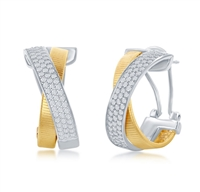 Sterling Silver Designer Earrings, Set with CZ, Bonded with 14K Gold, MADE IN ITALY