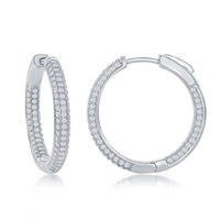 Sterling Silver 3x25mm Inside-Outside Micro Pave CZ Hoop Earrings