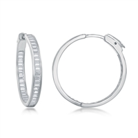 Sterling Silver 4x30mm Inside-Outside Baguette CZ Earrings