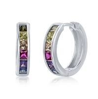 Sterling Silver Channel-Set Rainbow CZ Small Hoop Earrings