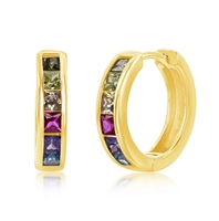 Sterling Silver Gold Plated Channel-Set Rainbow CZ Small Hoop Earrings