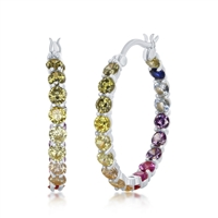 Sterling Silver 3x25mm Inside-Outside Rainbow CZ Hoop Earrings