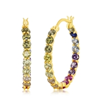 Sterling Silver 3x25mm Inside-Outside Rainbow CZ Hoop Earrings - Gold Plated