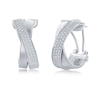 Sterling Silver Designer Earrings, Set with CZ, Bonded with Platnium, MADE IN ITALY