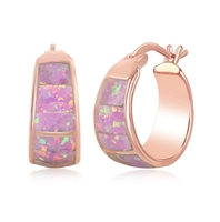 Sterling Silver Rose Gold Plated Pink Opal Wide Squares Small Hoop Earrings