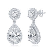 Sterling Silver Round and Pearshaped CZ Earrings