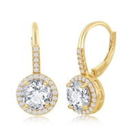 Sterling Silver Round CZ Halo Earrings - Gold Plated