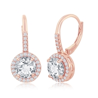 Sterling Silver Round CZ Halo Earrings - Rose Gold Plated