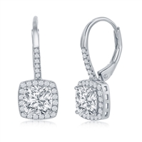 Sterling Silver Princess-Cut CZ with CZ Border Dangling Earrings