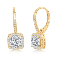 Sterling Silver Princess-Cut CZ with CZ Border Dangling Earrings - Gold Plated