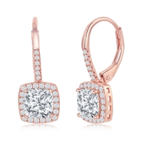 Sterling Silver Princess-Cut CZ with CZ Border Dangling Earrings - Rose Gold Plated