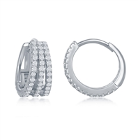 Sterling Silver Triple Row CZ Small Hoop Earrings