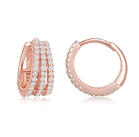 Sterling Silver Triple Row CZ Small Hoop Earrings - Rose Gold Plated