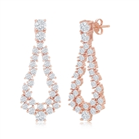 Sterling Silver Open Pearshaped CZ Statement Earrings - Rose Gold Plated