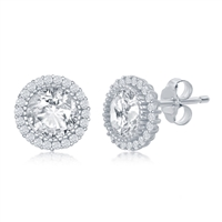 Sterling Silver 10mm Round CZ with Halo Stud Earrings
