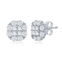 Sterling Silver Flower Design CZ Stud Earrings