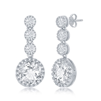 Sterling Silver Round CZ Dangling Earrings