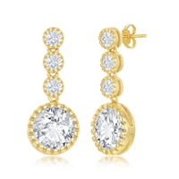 Sterling Silver Round CZ Dangling Earrings - Gold Plated