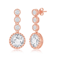Sterling Silver Round CZ Dangling Earrings - Rose Gold Plated
