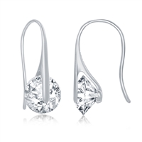 Sterling Silver Spinning Round CZ Frenchwire Earrings