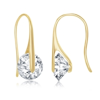 Sterling Silver Spining Round CZ Frenchwire Earrings - Gold Plated