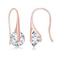 Sterling Silver Spinning Round CZ Frenchwire Earrings - Rose Gold Plated
