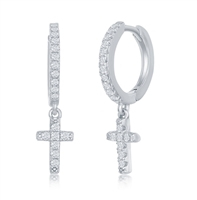 Sterling Silver Small Huggie Hoop CZ Cross Earrings