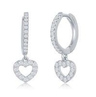 Sterling Silver Small Huggie Hoop CZ Heart Earrings