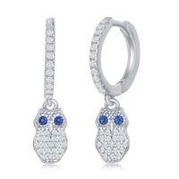 Sterling Silver Small Huggie Hoop CZ Owl Earrings