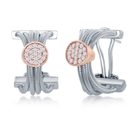 Sterling Silver Designer Earrings, Set with CZ, Bonded with 14K Rose Gold, MADE IN ITALY