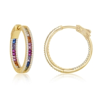 Sterling Silver Center Rainbow Channel-Set and White CZ Border Hoop Earrings - Gold Plated