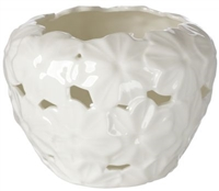 Debora Carlucci Porcelain Tea Light Holder with Embossed Daisy Decor Ivory Party Favor