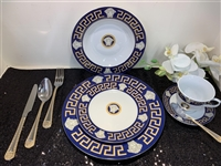 Dinner set, navy/gold