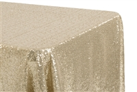 "Glitz Sequin 90""x132"" Rectangular Tablecloth - Champagne"