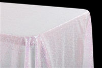"Glitz Sequin 90""x132"" Rectangular Tablecloth - Iridescent White"