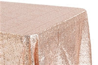 "Glitz Sequin 90""x132"" Rectangular Tablecloth - Blush/Rose Gold"