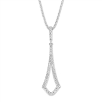 Sterling Silver Open Long Micro Pave Pendant
