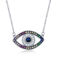 Sterling Silver Rainbow CZ Evil Eye Necklace