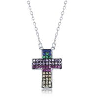 Sterling Silver Rainbow CZ Cross Necklace