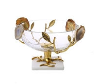 Glass Salad Bowl With Gold Leaf-Agate Stone Design