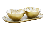 White and Gold Marbleized 2 Bowl Relish Dish